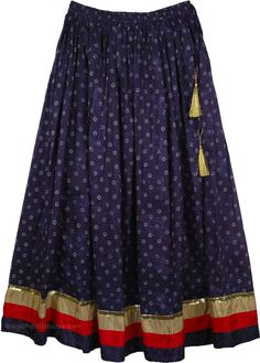 Martinique Printed Skirt with Solid Border TLB - Cotton Blue Clothing (Indian) Three Color Solid Border Long Skirt - A very sexy and feminine skirt in dark blue, attractive eye catching cocktail party masterpiece Indian Outfits, Indian Dresses, Skirt Fashion, Fashion Dresses, Indian Skirt, Ribbon Skirts, Kurta Neck Design, Party Skirt, Cotton Skirt