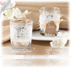 "Wedding Favors Bridal Favors Party Favors ""Lace"" Glass Tealight Holder Favors (Set of 4) Favors Gifts - 70% OFF - 20152NA - Cheap Wedding Favors - Cheap Bridal Shower Favors - Cheap Party Favors - http://www.warmimpressions.com/WEDDING_FAVORS/Lace-Glass-Tealight-Holder-Set-of-4-kate-aspen-Favors-20152NA.html"