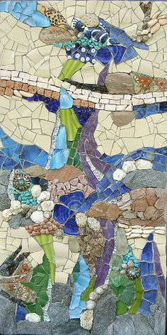 Stones, pebbles, brick, marble, broken ceramic dishes, broken glass dishes, turquoise, shell, stained glass, mirrored glass, sea glass on wood base. Wall art 30x60 cm  (4.5 kg:-))