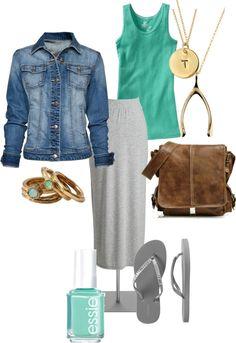 denim jacket & maxi skirt with tank...comfy!