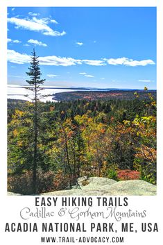 Acadia National Park is stunning, especially in the fall. It's filled with great ocean vistas, rocky trails and pops of red and yellow. Cadillac Mountain and Gorham Mountain are two easy hikes/drives along Park Loop Road that will give you a quick way to take it all in! #acadianationalpark #nationalparks #hiking #easyhikes #trails #maine Acadia National Park Hiking, National Parks Map, Usa Travel Guide, Travel Usa, Travel Tips, Travel Info, Time Travel, Travel Guides, Travel Destinations