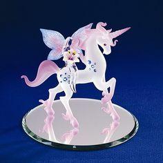 Unicorn With Fairy Glass Figurine w/ Swarovski Elements