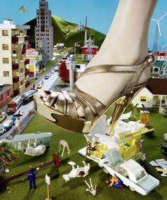 Big Foot Lives! - NYT shoe editorial. by  Miles Aldridge.. March 2006.   Miu Miu lamé wedge sandal, $450.