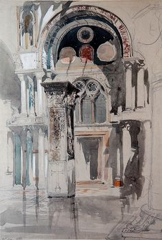 Part of Saint Mark's Basilica, Venice: Sketch after Rain John Ruskin Details Subjects References Artist/maker John Ruskin - Object type drawing Material and techniquewatercolour and bodycolour and ink over graphite on grey wove paper Ashmolean Art Et Architecture, Watercolor Architecture, Art Aquarelle, Watercolor Paintings, Watercolors, John Ruskin, A Level Art, Urban Sketching, William Morris