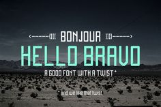 Hello Bravo - Font by Fonts of Chaos. --- Hello Bravo is a sans-serif straight lines with a twist. Each letter are square angle inside, and round outside. Hipster Fonts, Funky Fonts, Cute Fonts, Bold Fonts, Pretty Fonts, Beautiful Fonts, Brush Lettering Quotes, Types Of Lettering, Business Brochure