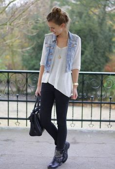 How To Wear Denim Vest Outfits Black Jeans Super Ideas Fall Outfits, Casual Outfits, Summer Outfits, Cute Outfits, Fashion Outfits, Jean Vest Outfits, Petite Fashion, School Outfits, Curvy Fashion