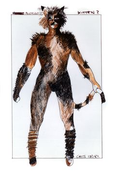 Concept art for Broadway Alonzo... Can't stand this design... Watching the tours, it was nigh impossible to find him until the Macavity fight! Grrr!