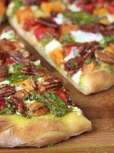 Sweet Potato and Pesto Pizza — Who knew pecans could be so good on pizza! This savory recipe combines unexpected flavors to create a delicious appetizer your party guests will rave over.