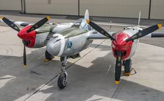 On the ramp at Rialto Airport. Aircraft Propeller, Ww2 Aircraft, Fighter Aircraft, Military Aircraft, Fighter Jets, Rifles, Lockheed P 38 Lightning, Lightning Aircraft, Ww2 Planes