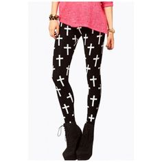Slim Women's Cross Printed Color Block Skinny Fashion Leggings Pants (35 CAD) ❤ liked on Polyvore featuring pants, leggings, colorblock leggings, slim fit trousers, color block pants, white legging pants and slim trousers