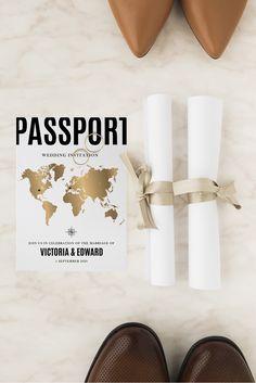 Passport wedding invitation Passport Wedding Invitations, Online Invitations, Wedding Invitation Templates, Printable Invitations, Gold World Map, Baby Shower Templates, Wedding Templates, Response Cards, Wedding Details