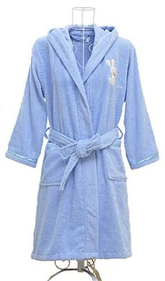 Boys and Girls Embroidered Hooded Terry Cotton Bathrobe Robe Fabric:100% terry cotton Robe with hood Chest embroidery Belt under loops 2 Front pocket Satin bias on cuff and pocket  Price:$29.99
