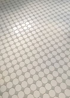 Recent Installation of Octagon & Dot by Daltile - Love the classic 1920s look!  |  Floor Tile Ideas  |  Classic Tile Design  |  White & Gray  |  Floor Pattern