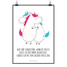 Poster DIN Unicorns hugging paper 160 grams white – The original of Mr. Each beautiful motif on our posters by Mr. Panda is hand-drawn and designed with great love by Mrs. Our posters are printed with very high-quality inks a Real Unicorn, Fall Color Palette, Beautiful Posters, Sister Love, Unicorn Birthday Parties, Meaningful Gifts, Great Love, Candyland, I Fall
