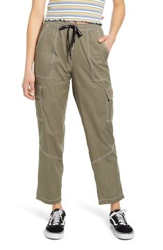 Contrast stitching highlights the construction of these relaxed cotton pants that finish with tapered legs. Style Name:Dickies Contrast Stitch Tapered Pull On Pants. Style Number: Available in stores. Cargo Pants Women, Khaki Pants, Pants For Women, Clothes For Women, Pull On Pants, Cotton Pants, Girls Pants, Pants Outfit