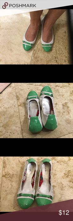 Tahari green & White flats Slip on style and go. Green and white pleather toes and heels. Stretch small scuff pic 4 shows great shape used Tahari Shoes Flats & Loafers