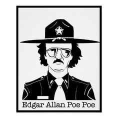 Edgar Allan Poe Poe (Black on White) Poster