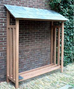 Dit haardhouthok of afdak is gemaakt van FSC hardhout, almedrillo met een dak van natuursteen leitjes. Elk houthok wordt op maat gemaakt. Vakman Maarten kan ook de plaatsing verzorgen.