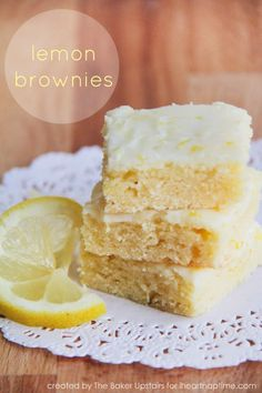 Super soft and sweet lemon brownies on iheartnaptime.com ...the perfect summer dessert!