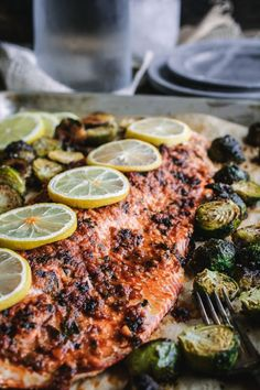 One Pan Roasted Citrus Glazed Salmon with Brussels Sprouts ciaochowbambina.com