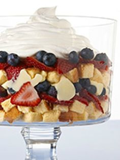 All-American Trifle — Show your colors with red, white and blue stripes in this top-rated, deliciously smart and fruity dessert recipe.