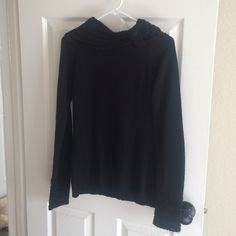 Cute Black Turtle Neck Button detail, super soft and with a very flattering, slimming fit, in great condition! Daytrip Sweaters Cowl & Turtlenecks