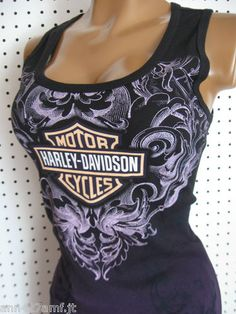 M Harley Davidson Black Fade Into Purple Scroll Tank Top Shirt | eBay