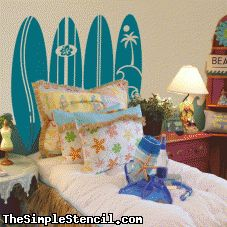 Surfboard Headboard SimpleStencil Wall Decals ~ Easy Install, looks painted on ~ Removable!