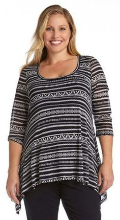 PLUS SIZE LIBERATED STRIPE 3/4 SLEEVE TOP Stretchy sheer mesh gives this Karen Kane top a breezy and breathable feel for ideal Spring time coverage. The handkerchief hem design floats over your figure to flatter while staying stylish. Layer over a Super Soft Tank for a complete look. #Plus_Size #Handkerchief #Fashion #Karen_Kane