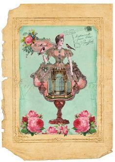Laminas decoupage: laminas vintage Wendy P jaulas, sillas antiguas, lamparas. Vintage Birds, Vintage Postcards, Vintage Images, Vintage Prints, Vintage Pictures, Book And Frame, Beautiful Collage, Bird Theme, Decoupage Vintage