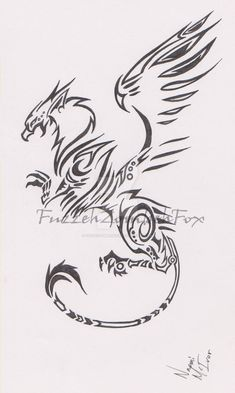 Tribal Griffin by FuzzehZombehFox Tribal Tattoos, Tribal Drawings, Tattoo Drawings, Body Art Tattoos, Sleeve Tattoos, Cool Tattoos, Tatoos, Arte Tribal, Tribal Art