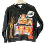 Creepy Haunted House Tacky Ugly Halloween Sweater Halloween Mode, Retro Halloween, Halloween Fashion, Halloween Outfits, Halloween Clothes, Sweater Shop, Ugly Sweater, Halloween Kleidung, Being Ugly