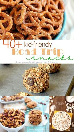 Going on a road trip soon? Check out these 40+ easy and kid-friendly road trip snacks! Ideas from granola bars, nut balls, and snack mixes.