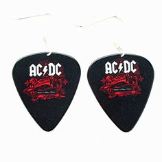 ACDC Plektrum Ohrringe AC DC Rock Musik Schmuck punk schwarzem Logo Konzertalbum   Your #1 Source for Jewelry and Accessories
