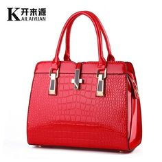 KLY 100% Genuine leather Women handbag 2017 New Light leather crocodile Fashion Shoulder Bags women messenger bags