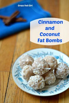 Coconut and Cinnamon Keto Fat Bombs (low carb, Paleo, dairy free, gluten free, sugar free) (Grass Fed Girl) Low Carb Sweets, Paleo Dessert, Low Carb Desserts, Healthy Sweets, Healthy Recipes, Low Carb Recipes, Whole Food Recipes, Diet Recipes, Keto Coconut Fat Bombs