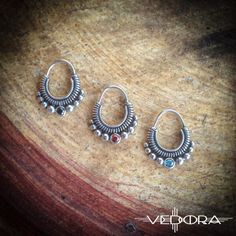 Silver tribal septum nose ring 3 stone colors available by Vedora