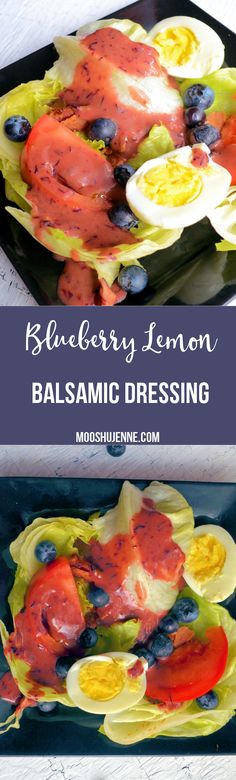 Blueberry lemon balsamic dressing made with fresh lemons, blueberries, blueberry balsamic vinegar from Devo olive oils, and a tad of honey.