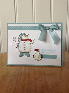 Handmade Christmas Card Kit Rolling Snow Ball MD w Mostly Stampin Up Product | eBay