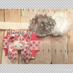 """Top is a double shabby headband and bottom is 4"""" stacked bow"""