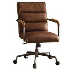 Acme Furniture 92414 Harith Top Grain Leather Office Chair in Retro Brown – İndustrial Office Swivel Office Chair, Executive Office Chairs, Home Office Chairs, Antique Wooden Chairs, Industrial Office Chairs, Stylish Chairs, Modern Chairs, Modern Armchair, Acme Furniture