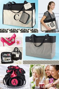 But take a look at these tote bags, cosmetic bags, cosmetic travel bags and lunch totes—all masterfully designed to maintain their chic forever! And did we mention they can all be personalized?   http://bride2be.theaspenshops.com/category/bridesmaidgifts.html