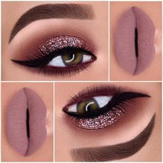 Glitter Eyes + Matte Mauve Lips Makeup Idea