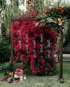 bougainvillea + acrylic seating chart