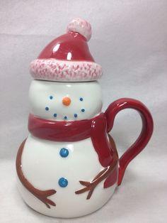Starbucks Snowman Coffee cup 12oz mug with lid/hat Holiday 2006 #Starbucks