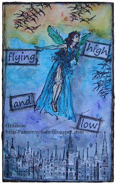 De Stempelwinkel - Designteam      : flying high and low - art journal page