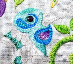 Secret Garden Embroidery Project Mary Corbet's 'Not-So-Angry Bird'