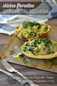Chicken Florentine Spaghetti Squash | Popular Paleo for StupidEasyPaleo.com - leave out the pine nuts and black pepper