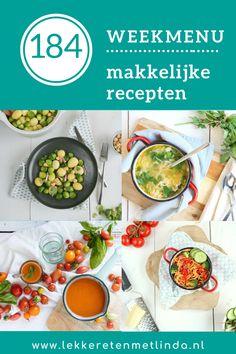 Inspiratie nodig voor het avondeten? Check het weekmenu met makkelijke recepten editie 184 met deze week tomatensoep, spaghetti met broccoli, spruitjes met krieltjes en zalige kippensoep. Bekijk hier de recepten. Tapenade, Fresh Rolls, Spaghetti, Broccoli, Ethnic Recipes, Om, Noodle