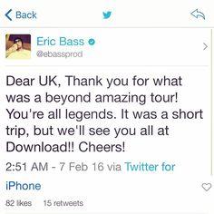 Via Eric: #CarnivalofmadnessUK #EricBass #Shinedown   Barry Kerch Brent Smith Eric Bass Shinedown Shinedown Nation Shinedowns Nation Zach Myers